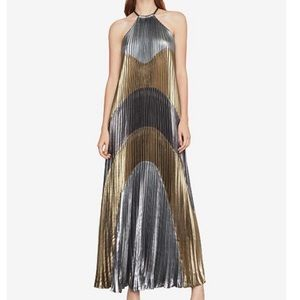 NWOT BCBGMAXAZRIA Pleated Metallic Dress